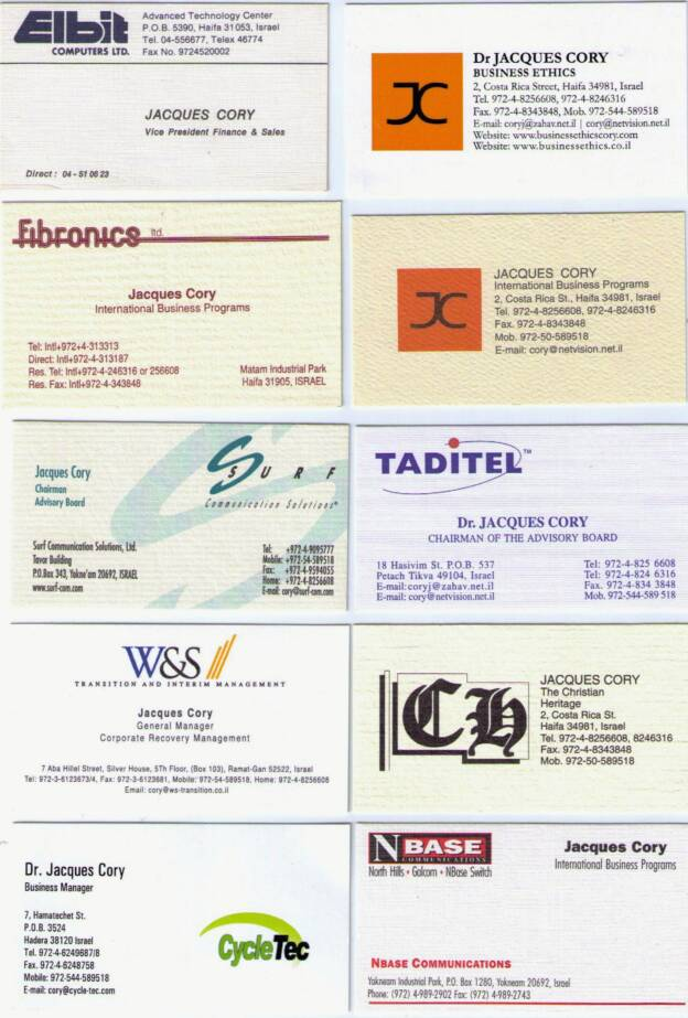 business cards of Cory's Contacts